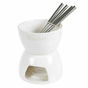 Compact Chocolate Cheese Fondue Set with Ceramic Pot & 4 Stainless Steel Forks