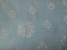 Vintage French Medallion Metis Linen Cotton Ticking Damask Fabric~ Nordic Blue
