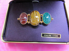 Chelsea Cambell 3 stone pin brooch gold tone