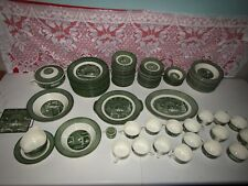 Antique 1950's Colonial Homestead 107 pcs. Dishes by Royal - Green Color