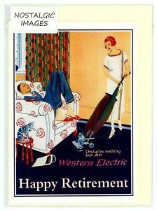 "Nostalgic vintage ""Happy Retirement"" greeting card. Blank inside. Humorous."