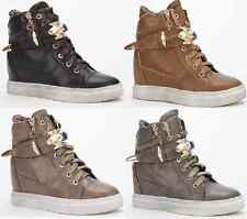 Women Hidden Wedge Heels High Top Ankle Boots Trainers Sneakers Shoes UK