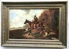 19th Century Oil On Canvas Horse And Hounds Hunting Scene Style Of Henry Alken