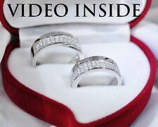 2 Pieces 1.6Ct Wedding Engagement Diamond Bands Fine Silver