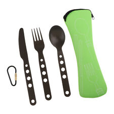 Lovoski Outdoor Camping Cutlery Set Knife Fork Spoon w/ Carry Bag Green