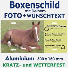 Pferde Box Schild eigenes Foto eigener Text Stalltafel Blechschild rostfrei