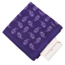 New $125 LUCIANO BARBERA Violet Purple Paisley Print Silk Pocket Square