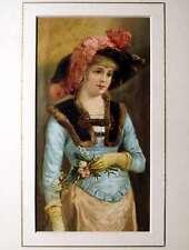 Moda Robe Parasole Parigi Elegante Gourbaud Litografia 19e Antiques