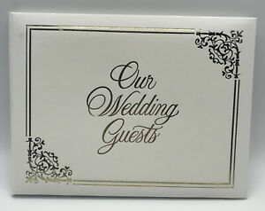 Elegant Wedding Bridal Guest Book Album with Gold Foil Cover Lettering