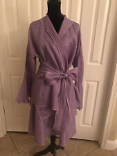 Large Rosebud 100% Linen Periwinkle Circle Skirt Suit With Wrap Tie Closure