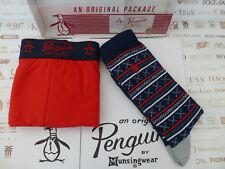 ORIGINAL PENGUIN Boxer Short + Sock Gift Set Red UK L Trunk/Socks 2in1 Box Set