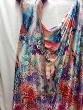 Designer Soft Satin One Side Floral Border Print Multicolour Dress Craft Fabric