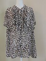 Lane Bryant $39 Brown + White Button up Blouse Top Women's Size 26 28 New