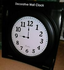 "Large 21"" Black Wall Clock From London Clock Works * (Brand New In Package!*)"