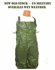 US MILITARY VINTAGE 1980's OVERALLS WET WEATHER RUBBER BIBS PANTS SLICKER M NOS