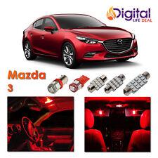 7 x Red Interior LED Light Package Kit for 2010 - 2016 Mazda 3 Sedan Hatchback