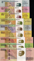 ANGOLA SET, 5,10,50,100,200,500,1000,2000,5000 Kwanzas, 2012, 9 items, UNC