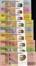 ANGOLA SET, 5,10,50,100,200,500,1000,2000,5000 Kwanzas, 2012, 9 notes, UNC