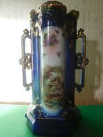 Antique Vintage Minster Twin Handle Vase Cobalt Blue And Gold