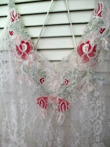 NEW IN BLOOM by Jonquil  NIGHTGOWN SLIP SATIN & LACE EMBROIDRED OFF-WHITEE XL