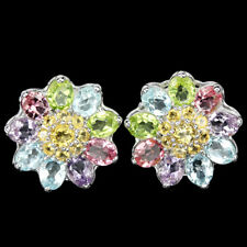 Sterling Silver 925 Natural Citrine Amethyst Peridot Topaz Gemstone Earrings