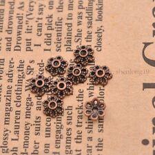 100Pcs Tibetan Silver /Gold/Bronze Flower Charm Spacer Bead Caps 6MM