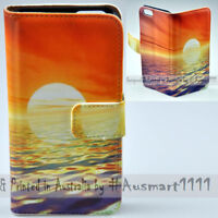 For LG Series Mobile Phone - Sea Sunset Theme Print Wallet Phone Case Cover