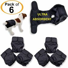 Pack - 6 Dog Diapers Female Cat LEAK PROOF Washable Waterproof Small Large Black