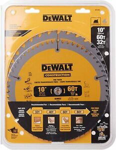 10-Inch Miter / Table Saw Blades, 60-Tooth Crosscutting & 32-Tooth General