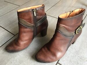 Pikolinos Ladies Brown Heeled Ankle Boots Size 6 / 39. Good Condition.