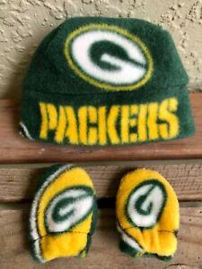 Green Bay Packers Newborn Baby Hat & Mitten Gift Set Fleece Fabric Infants 0-3mo
