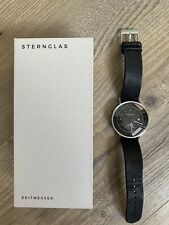 Sternglas Topograph Vintage Nero automatic Gerwatch Black With leather strap
