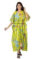 Bird Print Beach Wear Maxi Poncho Dress Cotton Tunic Woman's Floral Long Kaftan