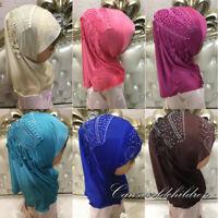 Kids Muslim Tassels Cap Hijab Islamic HeadScarf Shawls Turban For 2-7Years Girls
