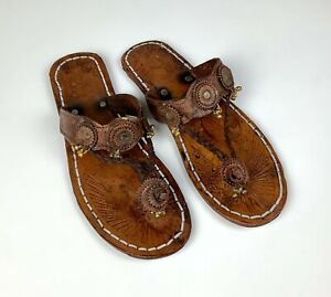 Morocco Handmade Leather Womens Sandals Size 10
