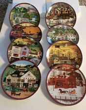 Set Of 8 Of Charles Wysocki's Peppercricket Grove 1993 Collectible Plates