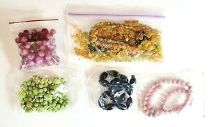 Lot of Loose Vintage Beads & Broken Necklaces Millifiori Moonglow Glass Stone