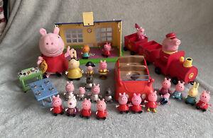 Peppa Pig Toy Bundle - School, Royal Train, Soft Toy, Weebles Car, 23 Figures