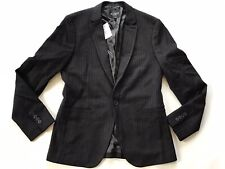 Guess Men's Striped Regular Blazer In Black Construction Size M