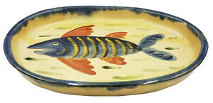 Large Slipware Studio Pottery Fish Plate / Platter / Tray