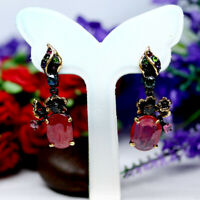 NATURAL 9 X 14 mm. OVAL RED RUBY & TOURMALINE EARRINGS 925 STERLING SILVER