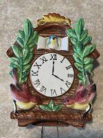 Vintage  Napco Ceramic Cuckoo Clock WALL POCKET Original Sticker