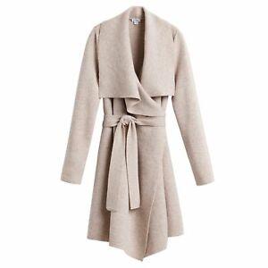 NEW Cuyana Wool Cashmere Short Wrap Coat in Beige Size M/L #S2678