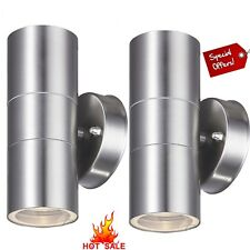 2x Stainless Steel Up Down Wall Light GU10 IP44 Double Outdoor Wall Lights