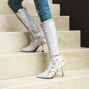 Women's Sequins Knee High Boots Stilettos High Heels Shoes Nightclub Party 34-43