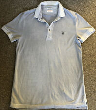 All Saints Mens Distressed Grey Polo Shirt Size Medium