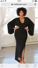 BNWT ASOS Club L  Black Plunge Slinky Maxi Long Evening Dress Sz 16 Ball Quiz?