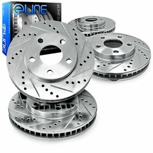For 2012-2019 Fiat 500 R1 Concepts Front Rear Drilled Slotted Brake Rotors