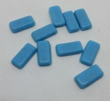 10 x Vintage Turquoise Blue Rectangle unfoiled Glass Cabochon approx 6 x 12 mm