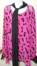Kardashian Kurves Plus Size Georgette Blouse + Matching Cami Pink & Black 20W